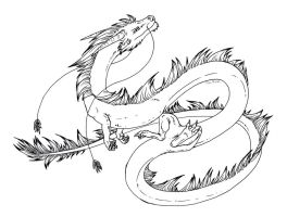 Free lineart: Eastern dragon by Dreikaz