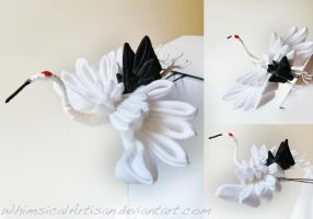 Japanese crane kanzashi by WhimsicalArtisan