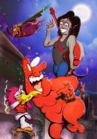 Marceline meets Cow,Chicken and the Big Red Guy by MrTuke