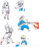 tf2 and portal doodles by Wolf-Shadow77