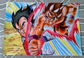 GOKU VS VEGETA by powre