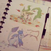 Leafeon and Glaceon by atta9