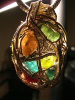 Backlit multi stone wire wrap by Civyx