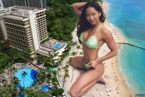 Giantess Gail Kim in Waikiki by lowerrider