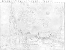 Pencil Starry Night by the-pink-dragon