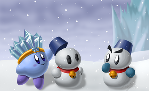 Ice Kirby Makes a Snowman by frostystar