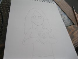 Girl making a heart, Drawing. by TMNT224