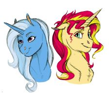 Doodle- Sunset Shimmer and Trixie by Earthsong9405