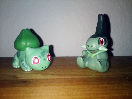Bulbasaur and Axew (Handmade) by nfasel