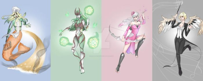 LoL - female skin concepts by Neptune-san