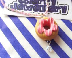 Pink Doughnut Necklace by tyney123