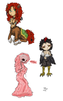 Chibi Monster Girls by SilverRacoon