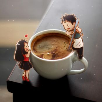 Love Starts From A Cup Of Coffee by Qyrara