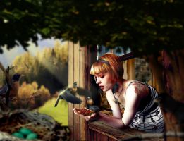 JLZ and the American Robins by diegotiziani