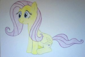 Colored Pencil Fluttershy by honkman7
