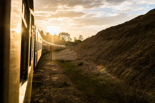 Burma Train at Sunset Stock by little-spacey