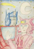 Optimus and Elita together by still-a-fan
