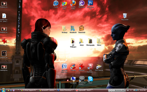 Mass Effect 3: Shepard and Liara on Mars Desktop by suicidebyinsecticide
