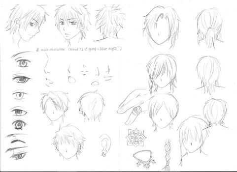 various sketches of male manga characters by yoolin