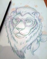 Hipster Lion by CraftyTibbles