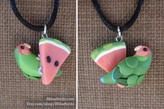 Melon Lovebird Pendant (prototype) by The-Wandering-Bird