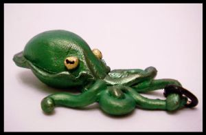 Small Green Cuttlefish Pendant by KimsButterflyGarden