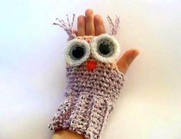 Owl Fingerless Gloves Crochet Pattern by PatternStudio