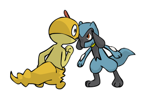 Zuruggu and Riolu Headbutt by sunnyfish
