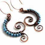Turquoise Glass Wire Wrapped Spiral Earrings by KariLuJewelry