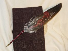 Rose of Sanguine - handpainted Featherquill by Ganjamira