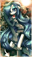 Blue eyes blue hair by IndI-Art
