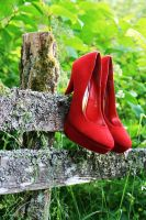 Red pump on the fence by WhatHeels