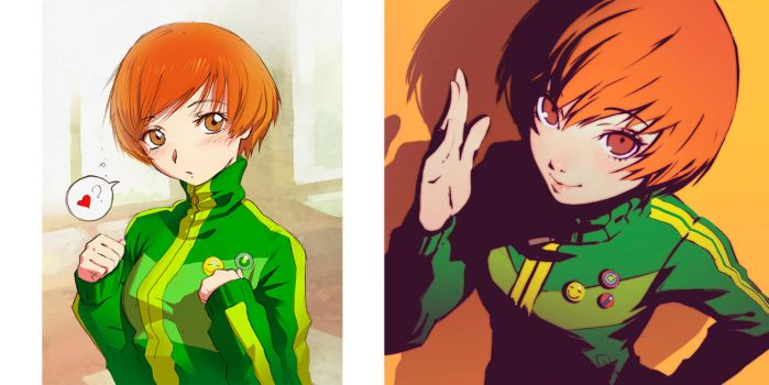 Chie fan arts 2010 - 2014 comparison by Kuvshinov-Ilya