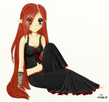gothic-ish anime girl by LouiseDK