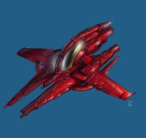 Red Starfighter by MeckanicalMind