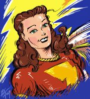 Mary Marvel Digital Sketch by ADE-doodles