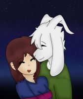 Frisk And Asriel by Puwimou