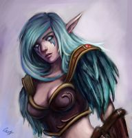Night elf portrait by jellyxbat