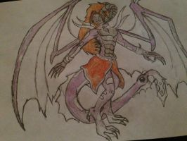 My first drawing of a dragon girl by Ceri19