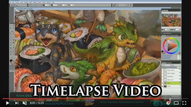 Timelapse Video of The Sushi Rollers Artwork by The-SixthLeafClover