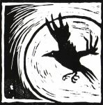 The crow and the moon lino by Vikkki