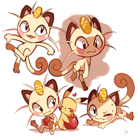 Meowth Doodles by Ipun