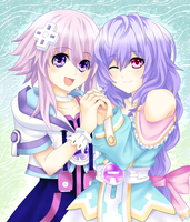 Neptunia and Pururut by AteruMichino