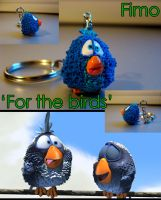 For the birds Fimo keychain by Sandien