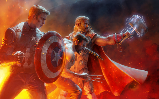 Captain America, Wolverine, and Thor by paintsharpener