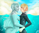 Shark Merman and Diver by Kozekito