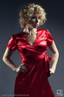 Woman in the red dress 2 by lowtekphoto