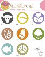 Vegan Cupcake Allergen Icons by Kesomon