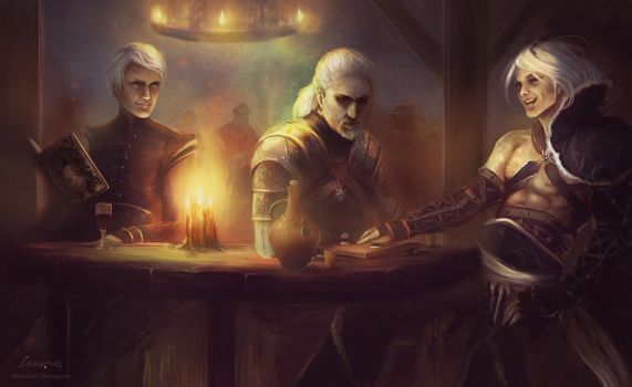 Commission: Tavern (Whispers, Witcher, Nier) by LenamoArt