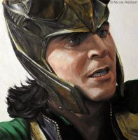 Loki (oil painting) by Quelchii